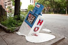 Showpaper Magazine Melted Newsstand – view more (melted) images @ http://origin.juxtapoz.com/Street-Art/showpaper-magazine-melted-newstand – #streetart #showpaper #newyorksummer