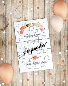 Annonce Naissance - Carte Puzzle et sa boîte surprise - annonce bébé originale : Cartes par lapoupettepaillettes