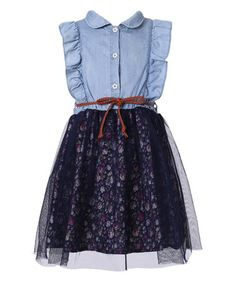 Another great find on #zulily! Blue Floral-Bottom Belted Sleeveless Dress - Toddler & Girls #zulilyfinds