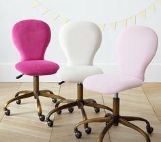 Beautiful Round Upholstered Desk Chair, Brass Base | Pottery Barn Kids