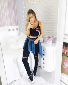 Basic for the day Teenage Outfits, Cute Teen Outfits, College Outfits, Outfits For Teens, Cool Outfits, Casual Outfits, Casual Pants, Tumblr Fashion, Girl Fashion