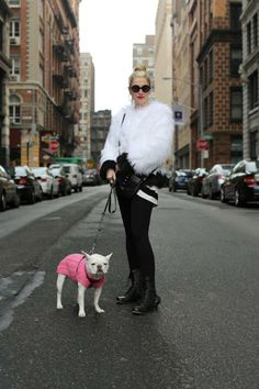 Love her top, but I don't think pink is her dog's colour...(pic from HONY)