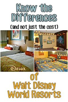 Wondering what the difference between Value, Moderate and Deluxe Disney Resorts are? The biggest factor in deciding where you want to stay is how much you are willing to spend. Disney breaks their resorts into 3 categories: Value, Moderate and Deluxe. Disney World Hotels, Disney Resorts, Disney World Vacation, Disney Vacations, Walt Disney World, Disney Travel, Florida Vacation, Family Vacations, Disney Souvenirs