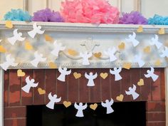 Heaven Sent Baby Shower Garland - Gold & White Baptism Angel Banner - First Communion Garland - Baby Dedication Decor - Your Color choice Christmas Angel Decorations, Valentines Day Decorations, Christmas Angels, Altar Decorations, Baby Shower Winter, Baby Boy Shower, Christmas Classroom Door, Baby Shower Garland, Candy Bar Wedding