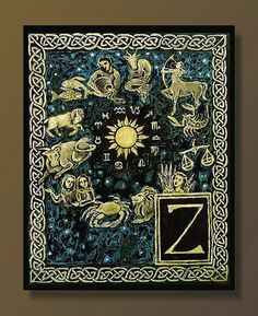 Z is for Zodiac  Medieval Alphabet Letter 8x10 by EmilyBalivet, $15.00