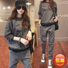 33.83$  Buy here - http://aifo1.worlditems.win/all/product.php?id=32776282778 - Fashion Maternity set plus warm velvet thickening comfortable clothing autumn winter casual sweatshirt trousers twinset
