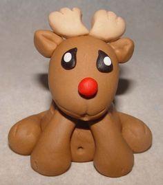 Fondant Reindeer or Santa Claus Cake Topper (4 piece set)