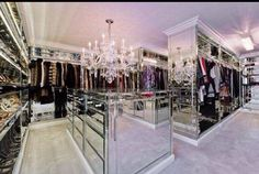 That Mirrored Furniture....That Chandelier....Absolute Closet Heaven!!!!!!!!!!!!!