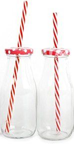 Vintage Style 300Ml Milk Bottle Drinking Jar With Lid And Straw - Red: Amazon.co.uk: Kitchen & Home