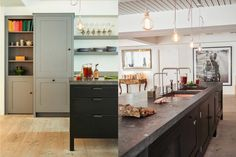 Soho Factory loft style Kitchen featuring the freestanding Osea Island with Belgian Fossil Stone Worktop and Long House cabinets and forged blacksmith blackened Steel handles.