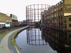 Gasometer, Regent's Canal, Hackney, May 2009 by Cybermyth13, via Flickr