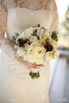 These pine cones are a great accent to this winter bouquet!   Out of the Garden