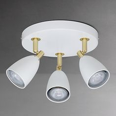 Buy John Lewis Sasha GU10 LED Spotlight Plate, 3 Light, Ivory/Brass Online at johnlewis.com