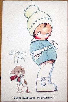1920s Beatrice Mallet/Artist-Signed Postcard: Child in Winter Clothes w/Dog