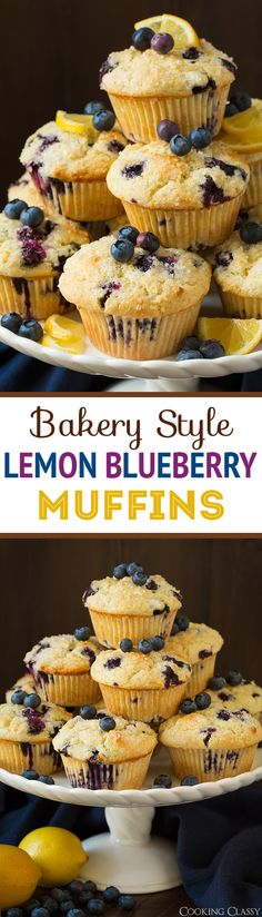 Bakery Style Lemon Blueberry Muffins - perfectly lemony and totally irresistible! Love the muffin tops!!