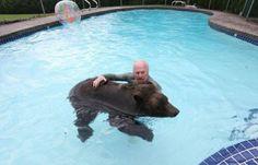 Smith's family of animal handlers from Vancouver: 18-year-old grizzly bear cub named Billy.  Сімейний улюбленець канадської родини Смітів із Ванкувера - 18-річний ведмідь-гризлі на ім'я Біллі.