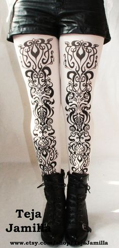 $25.65 Art Nouveau Printed Black and White Tights Small Medium Black on White Womens Fashion Pattern Leggings