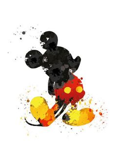 Digital print of Mickey Mouse with an abstract splatter effect. Perfect for any Disney lover! {PRINT SPECIFICS} -Printed on high quality photo Mickey Mouse Wallpaper Iphone, Cute Disney Wallpaper, Cute Wallpaper Backgrounds, Wallpaper Iphone Cute, Cute Wallpapers, Mickey Mouse Tumblr, Mickey Mouse Art, Watercolor Disney, Watercolor Art
