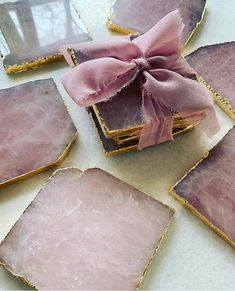 Home Rose Quartz Coasters with Gold edge finish, wedding gift, favor, bridesmaid gift, home entertai Epoxy Resin Art, Diy Resin Art, Diy Resin Crafts, Diy And Crafts, Arts And Crafts, Best Bridesmaid Gifts, Friendship Gifts, Craft Materials, Resin Jewelry