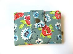 Handmade women wallet - small and slim - Cute blue and red floral - ID clear pocket - ready to ship - gift for her by PatrisCorner on Etsy