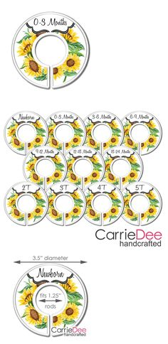 You will receive a handcrafted set of 11 CarrieDee Handcrafted™ nursery closet dividers. These sturdy plastic dividers are easy to slip on and off clothing racks. 11 Fully Assembled Nursery Closet Organizers by CarrieDee Handcrafted™. Nursery Closet Organization, Baby Closet Dividers, Sunflower Nursery, Girl Nursery, Nursery Ideas, Baby Suit, Girl House, Baby Online, Future Baby
