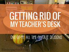 Getting Rid of my Teacher Desk {alternative seating bonus} - KindergartenWorks Classroom Desk Arrangement, Classroom Setup, Classroom Design, Classroom Organization, Classroom Management, My Teacher, Teacher Desks, Teacher Table, Kindergarten Classroom