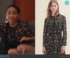 Zoey's black floral print dress on Grown-ish.  Outfit Details: https://wornontv.net/94619/ #Grown-ish
