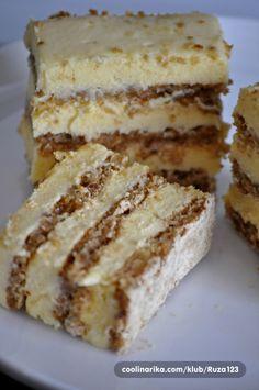 Draga Lynda,posto imamo isti recept,prilazem slike uz tvoj vec napisani recept....ja uvijek pravim snite ili tortu,evo slicice !! Odlican recept,kremasta i ukusna poslastica !!