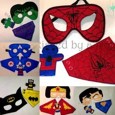 Superhero Felt Mask Super Set - Buy More Save MORE Dress up - Pretend Play - Play Therapy