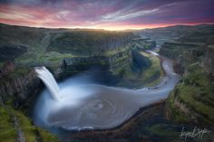 The Battle Between Light and Dark. Sunrise light creeps over the Palouse River canyon as the 200ft Palouse Falls rages with winter run-off. Photo © copyright by Ryan Dyar.