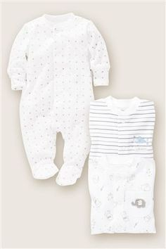 Buy Elephant Sleepsuits Three Pack from the Next UK online shop
