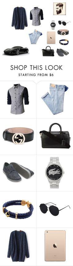 """""""lunch date"""" by jessiemckals ❤ liked on Polyvore featuring Gucci, Yves Saint Laurent, Lacoste, men's fashion, menswear, laidback and ClassicMan"""