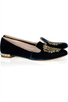 "Mui Mui ""Embroidered Velvet-Covered Leather Loafers"""