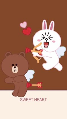 Cute Love Pictures, Cute Love Gif, Cute Couple Cartoon, Cute Love Cartoons, Kawaii Doodles, Kawaii Art, Line Cony, Cony Brown, Brown Bear