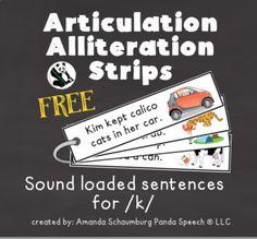 Articulation Alliteration Strips for k