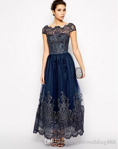 8576463c1d 2018 Cap Sleeve Mother Of The Bride Dresses Navy Blue Sheer Neck Ankle  Length Formal Dress Lace Applique Evening Party Wear Mother Of The Groom  Dresses Plus ...
