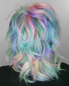 20 Cotton Candy Hairstyles That Are as Sweet as Can Be Medium Multi-Colored Pastel Hairstyle Vivid Hair Color, Hair Color Dark, Ombre Hair Color, Hair Color Balayage, Cool Hair Color, Purple Hair, Purple Bob, Pastel Purple, Cabello Opal