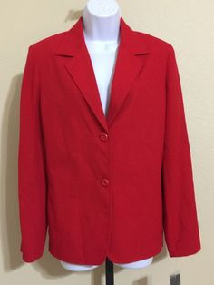 Requirements Women's Red Single Breasted Blazer Fully Lined Size 12 NWT #Requirements #Blazer