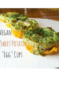 "#vegan Sweet Potato ""Egg"" Cups! Make ahead for an easy filling breakfast on-the-go! Made with a secret #healthy ingredient!"