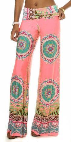 Island Pink Bohemian Slouchy Lounge/Beach Wide Leg Palazzo Pants  Medium