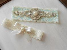 Wedding Garter Set Beautiful Tiffany and Ivory by BridalbyVanessa, $28.50