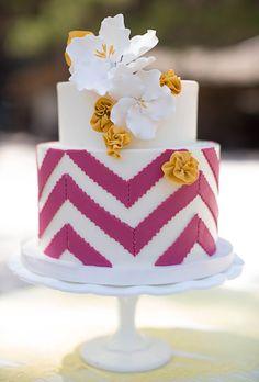 Wedding Cakes | Pink and Yellow Chevron