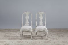 A set of ten Swedish Rococo style painted oak dining chairs distressed pale grey paintwork, upholstered in calico, available in a range of fabrics and finishes Painted Dining Chairs, Oak Dining Chairs, Rococo Style, Bespoke, Fabrics, Range, Pairs, Grey, Painting