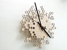 Honeycomb clock  wooden wall clock by AsymmetreeDesign, €69.00