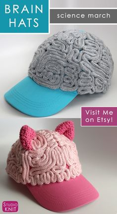 Brain Hat Baseball Cap for March for Science. Handcrafted by Kristen of Studio Knit, creator of the original Brain Hat popularized by the Science March community. Finished piece is created by coiling 53 FEET of knitted brains onto your adult sized basebal Beginner Knitting Patterns, Knitting Stitches, Free Knitting, Crochet Patterns, Knit Crochet, Crochet Hats, Knit Art, Knit Picks, Yarn Shop