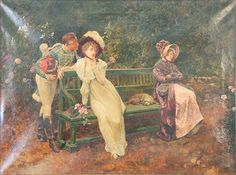 "HENRY GILLARD GLINDONI (1852-1913)  Romantic Scene  Conversing at the Park  oil on canvas  signed lower left H. Gillard Glindoni  30"" x 40"""