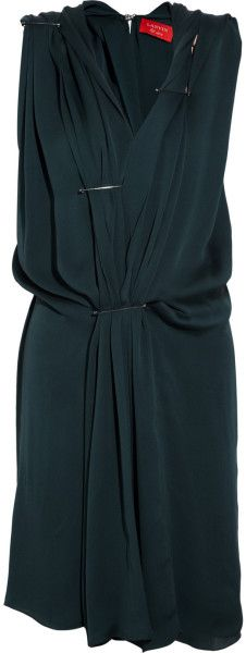 safety pin clothing | Lanvin Safety Pin Draped Silkcharmeuse Dress in Blue (teal)