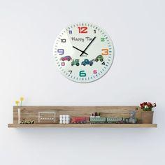 Biele nástenné hodiny do detskej izby s motívom autíčok Tin, Clock, Wall, Home Decor, Watch, Decoration Home, Room Decor, Pewter, Clocks