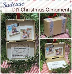 Make this suitcase DIY Christmas Ornament for displaying your travel vacation memories - great gift idea for grandparents too! Diy Photo Ornaments, Diy Christmas Ornaments, Homemade Christmas, Holiday Crafts, Holiday Fun, Christmas Holidays, Christmas Decorations, Christmas Ideas, Homemade Ornaments
