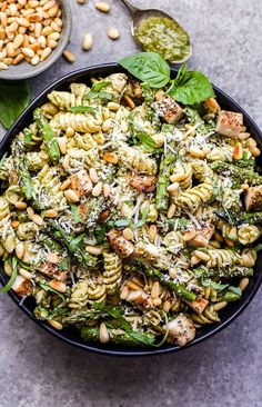 Grilled Chicken and Asparagus Pesto Pasta is perfect for summer! Simple ingredients, but tons of flavor thanks to grilling and the pesto lemon sauce. Serve it warm or cold for a delicious and healthy weeknight dinner! Summer Pasta Recipes, Pesto Pasta Recipes, Pesto Pasta Salad, Healthy Chicken Recipes, Dinner Recipes, Turkey Recipes, Recipes With Pesto, Kid Recipes, Pesto Recipe